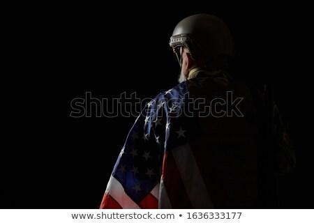Powrót stanowią amerykański żołnierz widok z tyłu młodych Zdjęcia stock © stockyimages