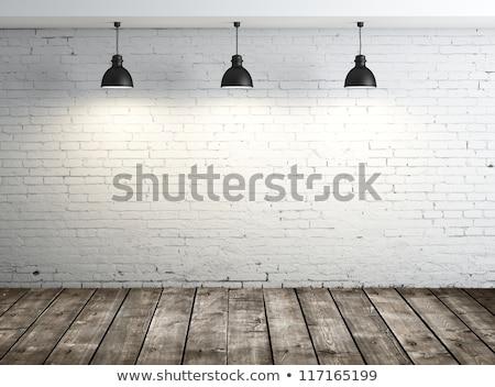 старые кирпичная стена деревянный пол интерьер дома домой Сток-фото © REDPIXEL