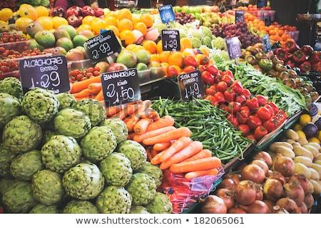 Paradicsomok áll piac Barcelona Spanyolország Stock fotó © d13