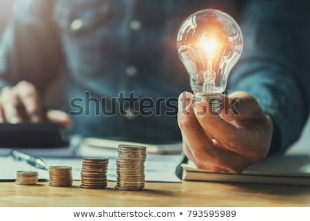 energie · besparing · lamp · hand · groen · gras · gebarsten - stockfoto © mycola