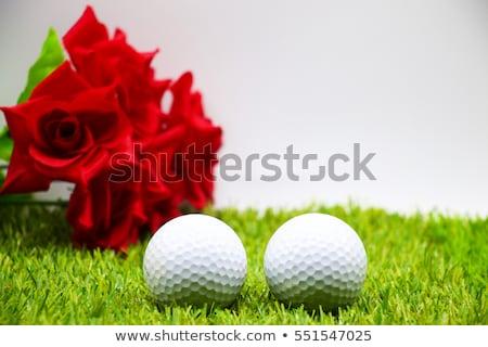 мяч · для · гольфа · красный · стекла · таблице · столе · гольф - Сток-фото © capturelight