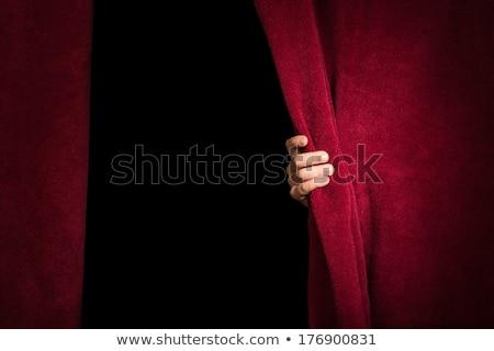 kéz · függöny · piros · háttér · portré · szövet - stock fotó © deyangeorgiev