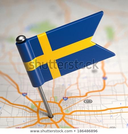 Sweden Small Flag on a Map Background. Stock photo © tashatuvango