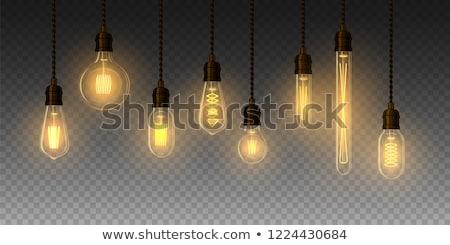 Lámpa megvilágított akasztás sötét fény éjszaka Stock fotó © chrisbradshaw