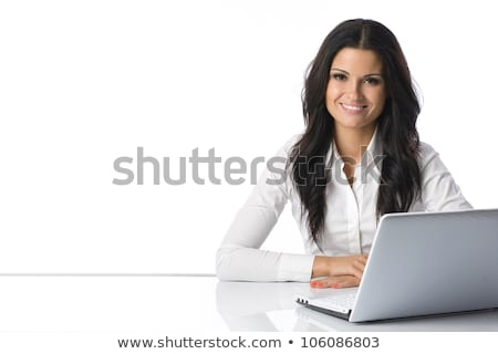young businesswoman with laptop on white background studio stock photo © ambro
