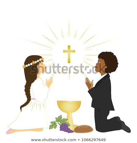 brown hair boy first holy communion card stock photo © marimorena