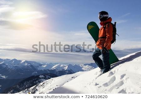 jonge · mannen · ski · berg · winter · resort · gelukkig - stockfoto © Kor