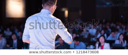 üzletember · bemutató · pódium · férfi · nők · munka - stock fotó © kasto