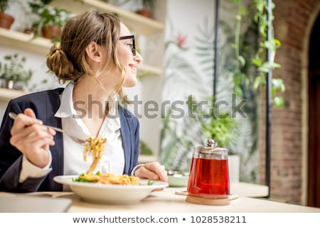 Işkadını öğle yemeği sandalye iş kadın Stok fotoğraf © Flareimage