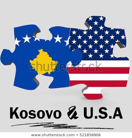 EUA Kosovo bandeiras quebra-cabeça vetor imagem Foto stock © Istanbul2009