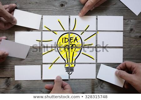 Сток-фото: бизнесмен · Идея · деловой · человек · лампочка · стороны