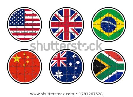 Foto stock: Reino · Unido · Brasil · banderas · rompecabezas · vector · imagen