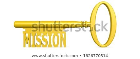 Kulcsok szó küldetés arany címke fekete Stock fotó © tashatuvango