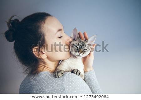 брюнетка красоту кошки портрет сиамские кошки женщину Сток-фото © lithian