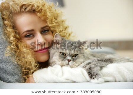 mooie · blond · huisdier · kitten · sofa · home - stockfoto © wavebreak_media