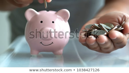 senior woman hand putting money to piggy bank stock photo © dolgachov