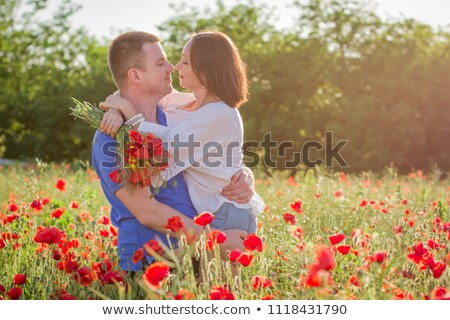 couple in love among the flowers stock photo © kotenko