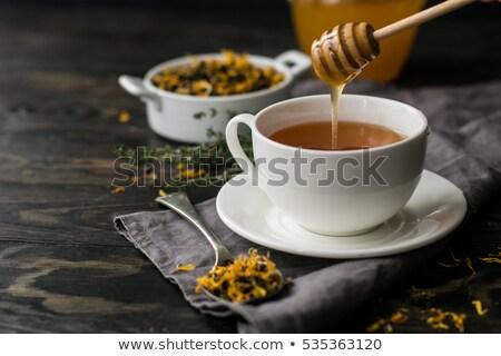 Copo chá mel vidro café da manhã Foto stock © Digifoodstock
