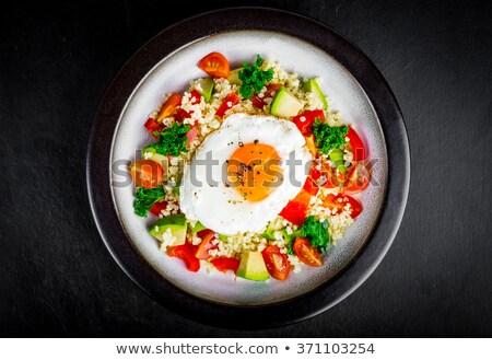 Kuskus salata sahanda yumurta vejetaryen yemek biber Stok fotoğraf © Digifoodstock