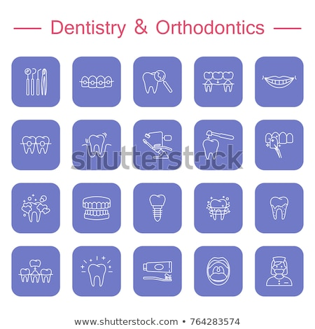 Dental clinic services flat icons on white Stock photo © vectorikart