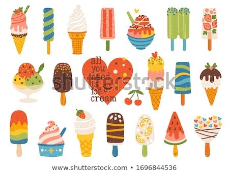 Vla vanille plakje aardbeien ijs vers Stockfoto © Digifoodstock