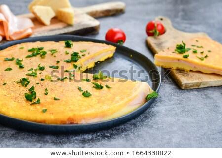 Szynka ser jaj tabeli niebieski cytryny Zdjęcia stock © mady70