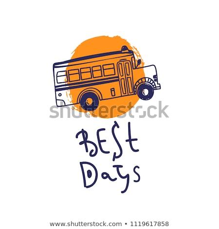 Iskolabusz rajz ikon vektor izolált kézzel rajzolt Stock fotó © RAStudio