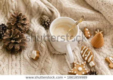 csésze · fehér · kávé · csokoládé · chip · sütik - stock fotó © lorenzodelacosta
