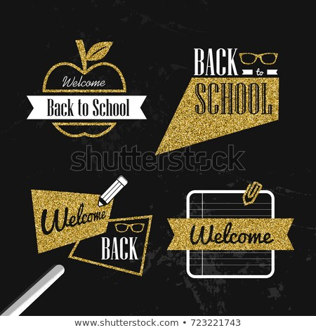 back to school gold glitter typography quote set stock photo © cienpies