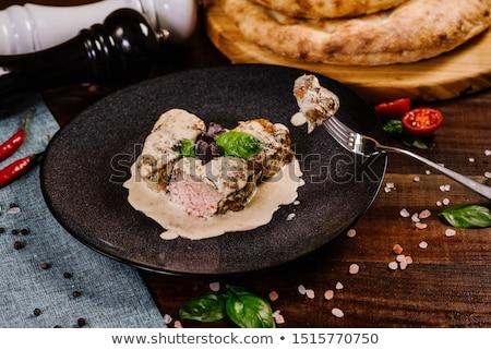 Gegrillt Schweinefleisch Medaillon Detail Gewürz grünen Stock foto © Digifoodstock