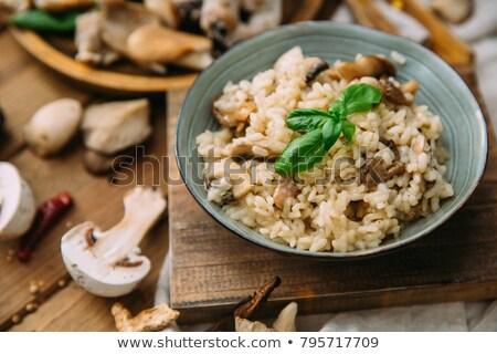 Házi készítésű rizs gombák tál vad fa Stock fotó © mpessaris