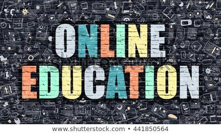 Multicolor Online Learning on Dark Brickwall. Doodle Style. Stock photo © tashatuvango