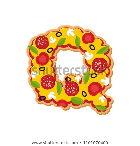 Letter Q pizza font. Italian meal alphabet. Lettring fast food Stock photo © popaukropa