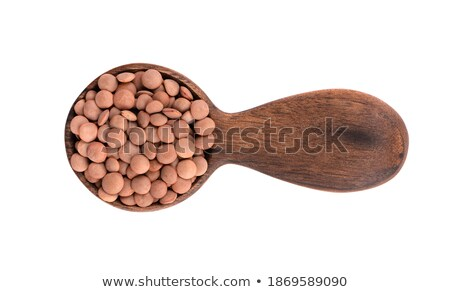 lentil porridge in plate and spoon isolated healthy food for br stock photo © maryvalery