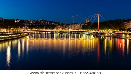 Sprawiedliwości most Lyon zmierzch Francja rzeki Zdjęcia stock © akarelias