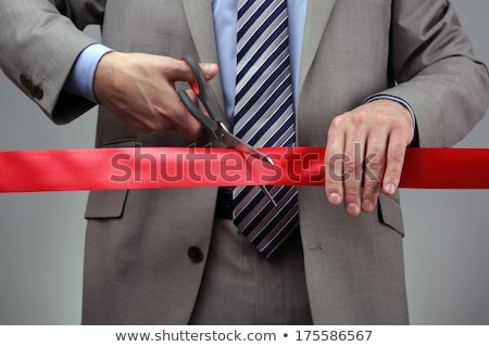 Stockfoto: Businessman Awarding Ceremony With Red Ribbon