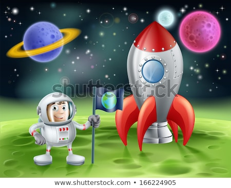 Space landscape: Moon and alien. UFO and rocket. Vector illustra Stock photo © popaukropa