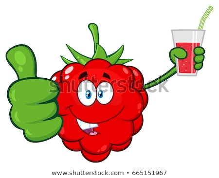 raspberry fruit cartoon character holding up a glass of juice stock photo © hittoon
