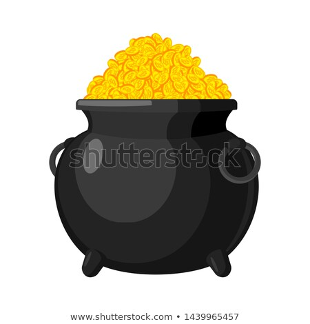Pot with Bitcoin. Treasures of Cryptocurrency. lot of virtual mo Stock photo © popaukropa