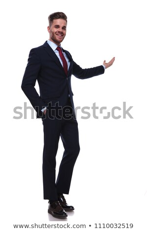 handsome relaxed businessman in navy colored suit standing Stock photo © feedough