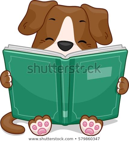Dog Mascot Read Book Stock photo © lenm