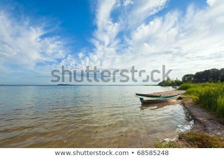 Tekne yaz göl kıyı eski ahşap Stok fotoğraf © wildman