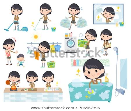 Iskolás lány barna szett különböző nők vásárlás Stock fotó © toyotoyo