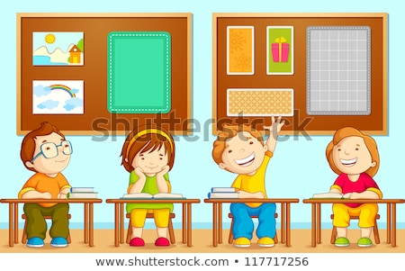 Little Pupil At A Desk Reading Book In The Classroom Vector. Black, Afro American. Isolated Illustra Stock photo © pikepicture