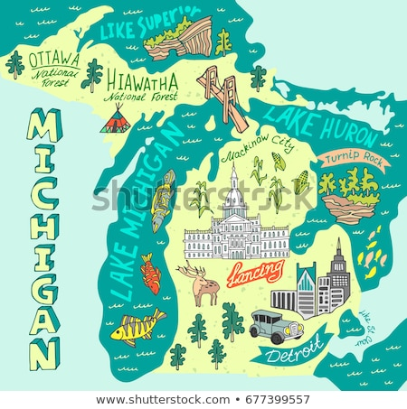 Cartoon Michigan illustratie glimlachend grafische amerika Stockfoto © cthoman