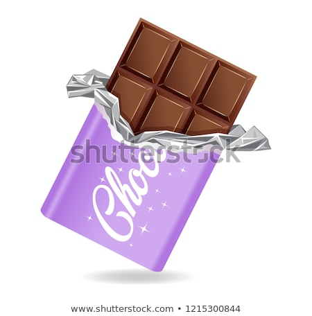 Chocolate bar in opened purple wrapped and foil Stock photo © MarySan