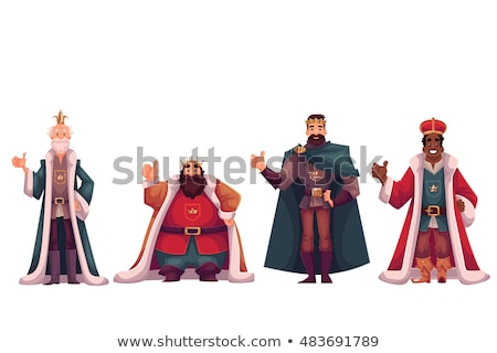 Foto stock: Cartoon · sonriendo · príncipe · hombre · corona