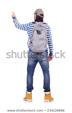 Stockfoto: Jonge · reiziger · rugzak · geïsoleerd · witte · gelukkig