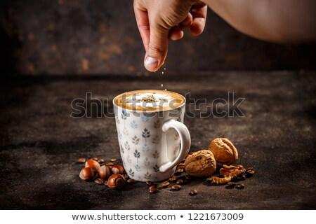 Hazelnoot walnoot koffie vintage donkere achtergrond Stockfoto © grafvision