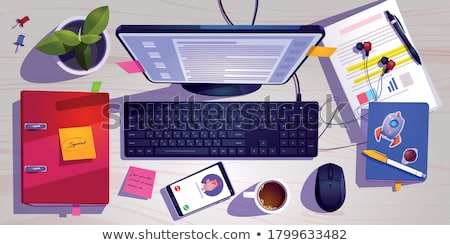 Computer Monitor with Paper Stickers and Documents Stock photo © robuart